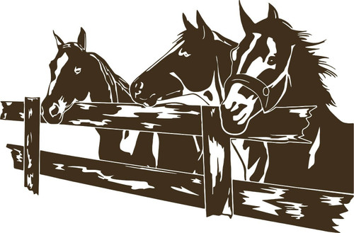 Horse Rodeo Western Fence Pasture Car Truck Window Laptop Vinyl Decal Sticker Gray