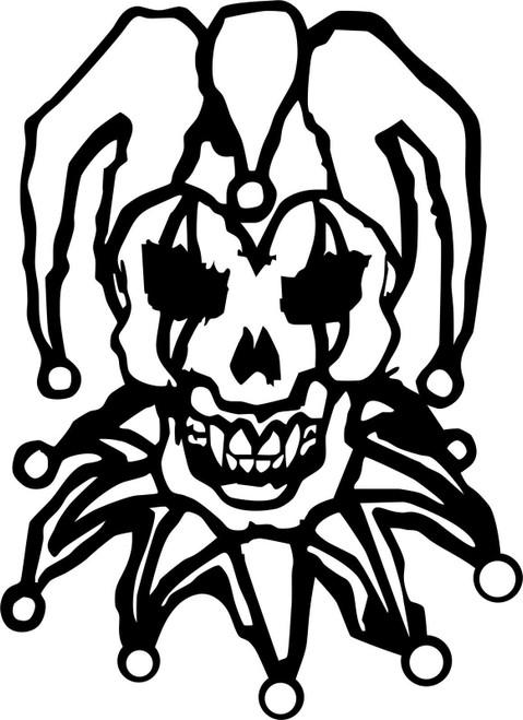 Jester Clown Skull Motorcycle Biker Car Truck Window Vinyl Decal Sticker Black