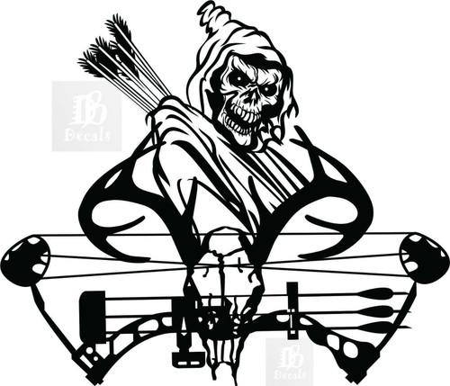 Grim Reaper Hunter Bow Hunting Deer Skull Car Truck Window Vinyl Decal Sticker Black