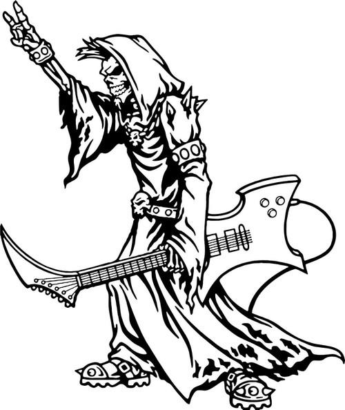Grim Reaper Guitar Music Rock N Roll Car Truck Window Vinyl Decal Sticker Black