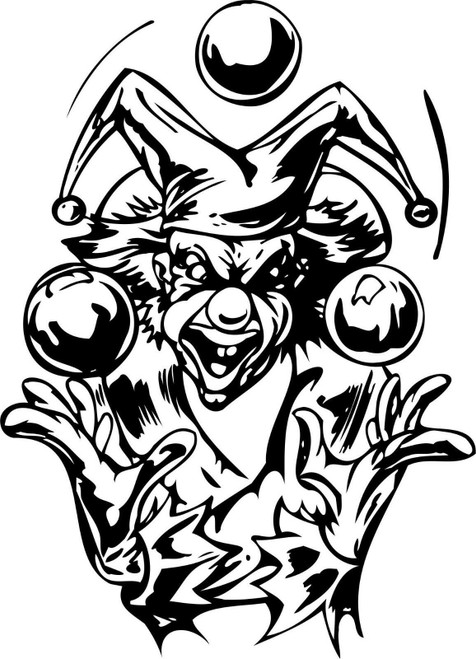 Clown Juggling Balls Jester Joker Car Truck Window Laptop Vinyl Decal Sticker Black