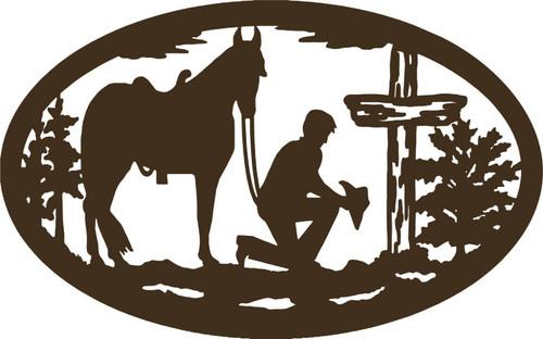 Christian Cowboy Horse Cross Car Truck Window Laptop Sign Vinyl Decal Sticker Gray