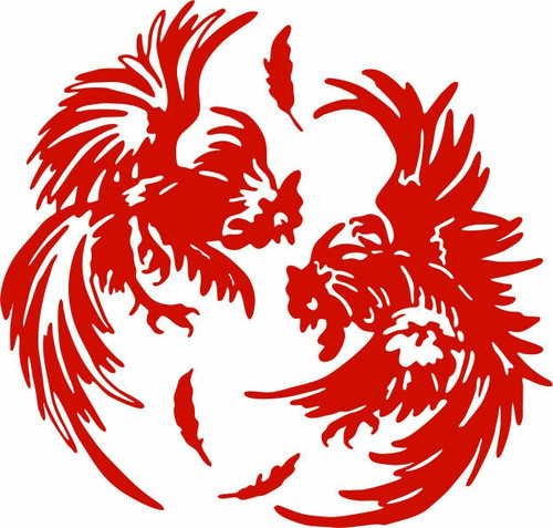 Fighting Chicken Rooster Farm Car Truck Window Laptop Sign Vinyl Decal Sticker Red