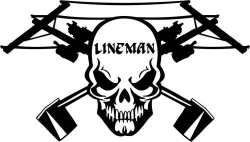 Lineman Skull Electrician Power Worker Car Truck Window Vinyl Decal Sticker Black