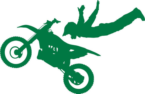 Motorcycle Stunt Ride Bike Racing Motocross Car Truck Window Vinyl Decal Sticker Green