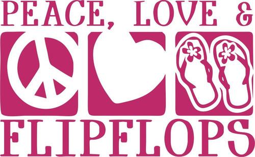 Flip Flop Peace Sign love Heart Car Truck Window Wall Laptop Vinyl Decal Sticker Red