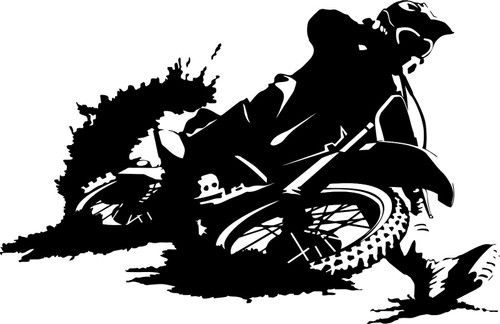 Motorcycle Dirt Sport Bike Car Truck Window Laptop Vinyl Decal Sticker Black