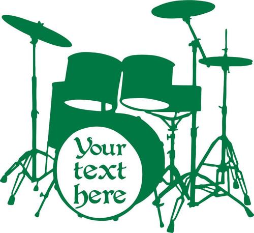 Drums Music Rock Band Drummer Musician Car Truck Window Vinyl Decal Sticker Green