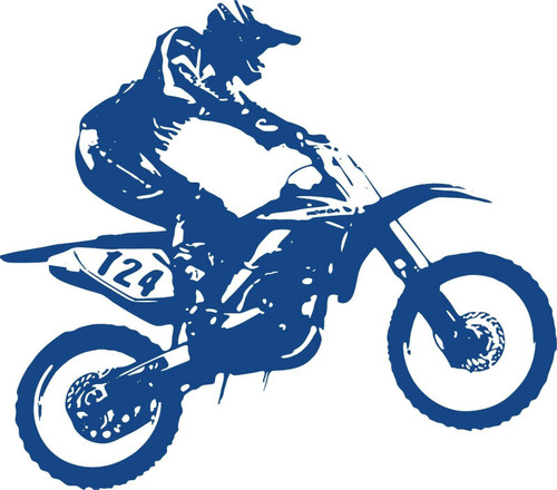 Motorcycle Motocross Dirt Bike Racing Sport Car Truck Window Vinyl Decal Sticker Blue