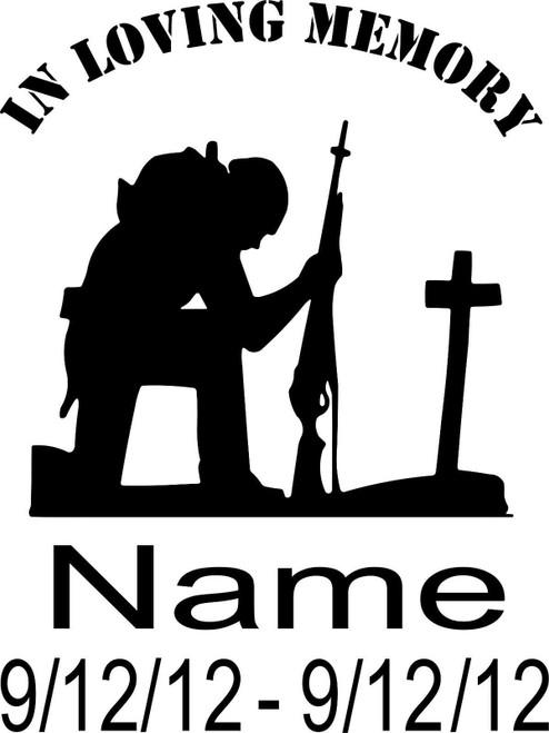 Loving Memory Soldier Praying Cross Custom Car Truck Window Vinyl Decal Sticker Black