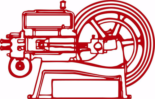 Hit and Miss Engine Tractor Farm Equipment Car Truck Window Vinyl Decal Sticker Red