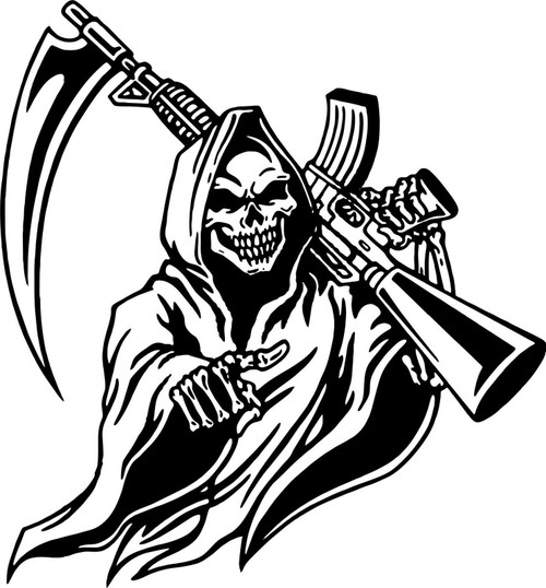 Grim Reaper Machine Gun Hunt Skull Car Truck Window Laptop Vinyl Decal Sticker Black