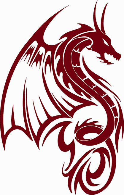 Dragon Fantasy Mystical Creature Wings Car Truck Window Vinyl Decal Sticker Red
