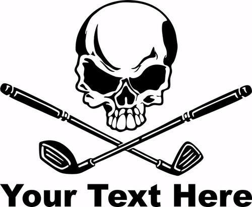 Skull Golf Clubs Crossbones Sports Custom Text Car Window Vinyl Decal Sticker Black