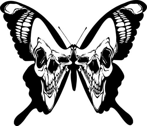 Skull Butterfly Wings Moth Car Truck Window Laptop Vinyl Decal Sticker Black