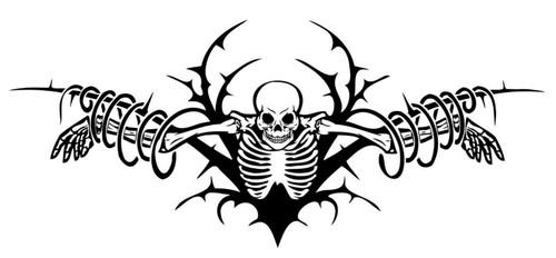 Hanging Skeleton Skull Zombie Monster Car Truck Window Vinyl Decal Sticker Black