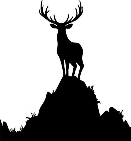Hunting Deer Buck Elk Mountain Gun Bow Car Truck Window Vinyl Decal Sticker Black