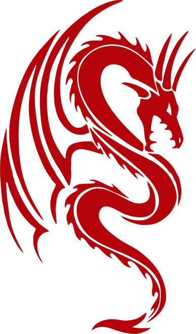 Dragon Mythical Creature Fantasy Tribal Car Truck Window Vinyl Decal Sticker Red