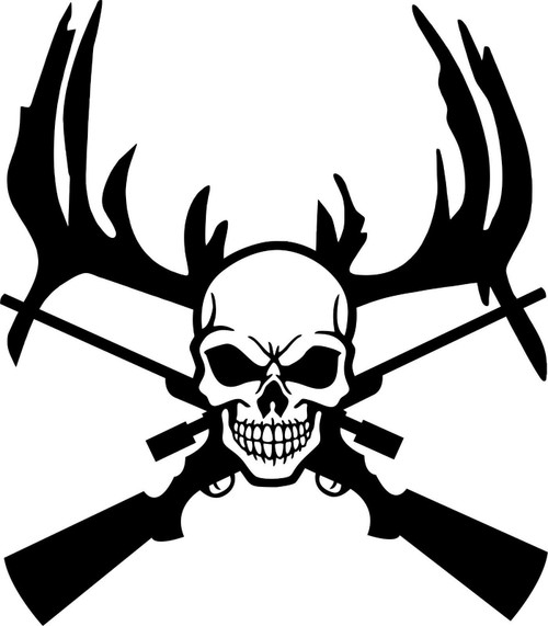Deer Reaper Skull Gun Hunting Car Truck Window Wall Laptop Vinyl Decal Sticker Black