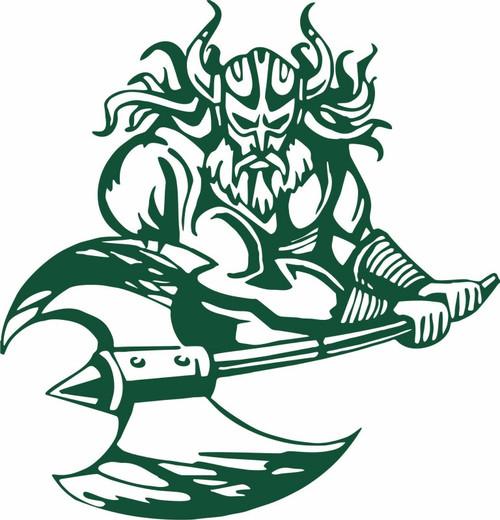 Viking Warrior Norsemen Battle Axe Car Truck Window Vinyl Decal Sticker Green