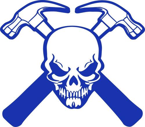 Carpenter Skull Construction Hammer Builder Car Truck Window Vinyl Decal Sticker Blue