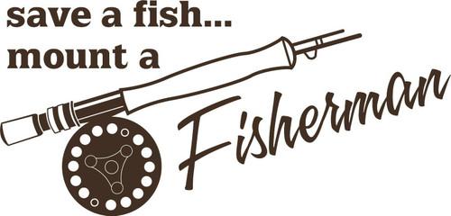 Fish Fisherman Funny Fishing Poe Rod Reel Car Truck Window Vinyl Decal Sticker Gray