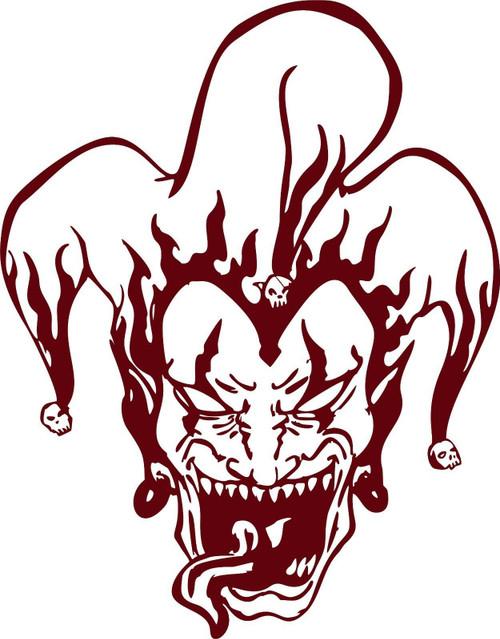 Jester Clown Tribal Flames Skull Car Truck Laptop Window Vinyl Decal Sticker Red