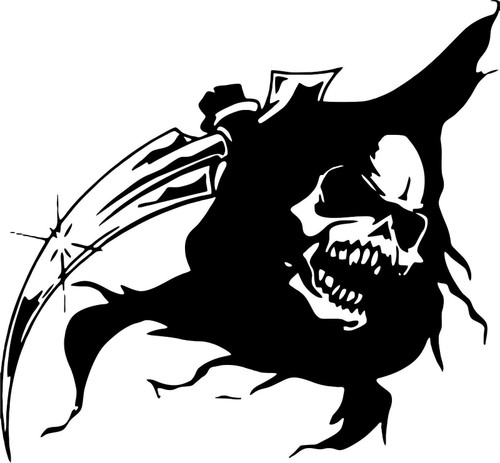 Grim Reaper Head Skull Scythe Car Truck Window Laptop Vinyl Decal Sticker Black