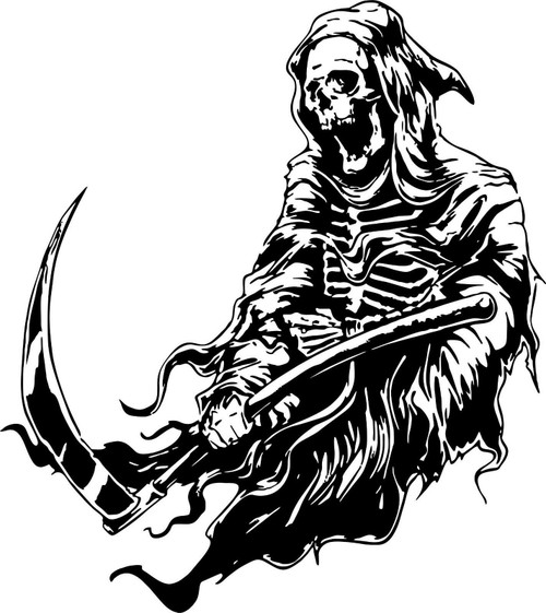 Grim Reaper Scythe Dr Death Monster Car Truck Window Laptop Vinyl Decal Sticker Black