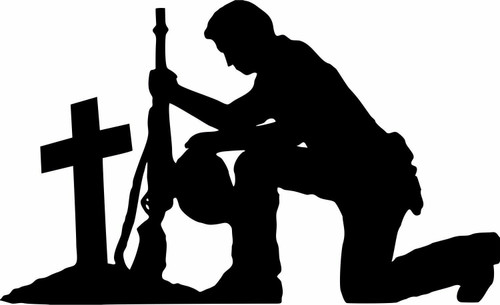 Soldier Praying Service Military Christian Truck Car Window Vinyl Decal Sticker Black
