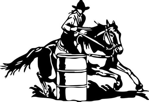 Barrel Racing Cowgirl Girl Rodeo Horse Car Truck Window Wall Vinyl Decal Sticker Black