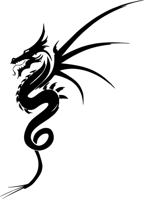 Dragon Mythical Creature Fantasy Car Truck Trailer Window Vinyl Decal Sticker Black