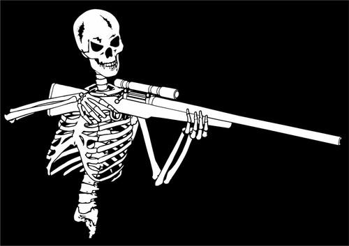 Skeleton Hunter Rifle Gun Hunting Skull Car Truck Window Vinyl Decal Sticker Black