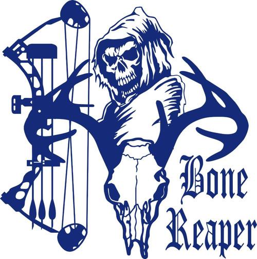 Bone Grim Reaper Bow Hunter Deer Skull Car Truck Window Vinyl Decal Sticker Blue