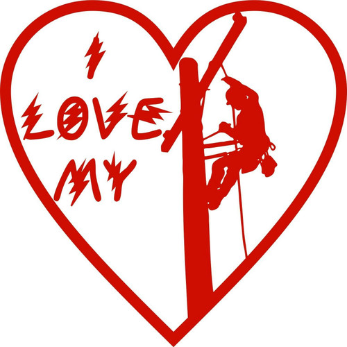 I Love My Lineman Electrician Heart Man Car Truck Window Vinyl Decal Sticker Red