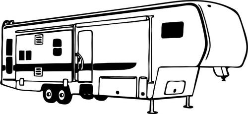Camping 5th Wheel RV Camper Car Truck Window Wall Laptop Vinyl Decal Sticker Black