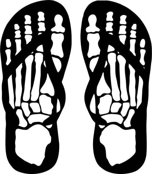 Flip Flops Skeleton Skull Feet Car Truck Window Wall Laptop Vinyl Decal Sticker