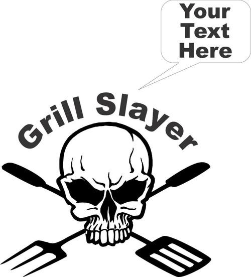 BBQ Grill Cooking Skull Custom Text Car Truck Window Laptop Vinyl Decal Sticker Black