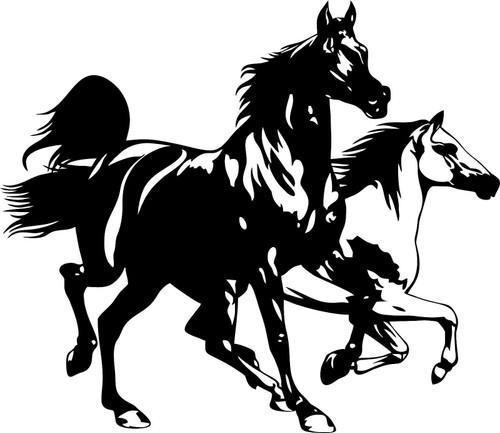 Horse Horses Running Rodeo Car Truck Window Laptop Vinyl Decal Sticker black