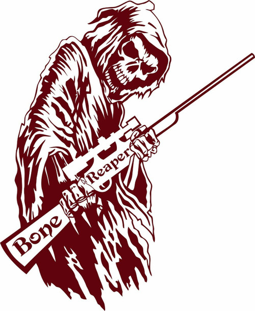 Bone Grim Reaper Gun Rifle Hunting Deer Car Truck Window Vinyl Decal Sticker Red