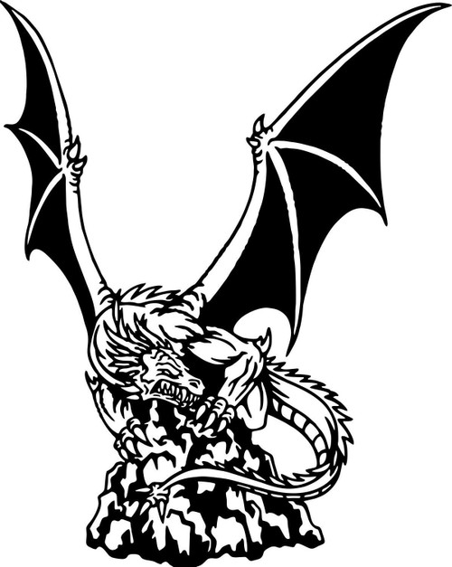 Dragon Mythology Fantasy Creature Car Truck Window Laptop Vinyl Decal Sticker Black