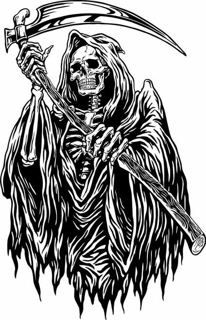 Grim Reaper Monster Zombie Death Scythe Truck Window Wall Vinyl Decal Sticker Black