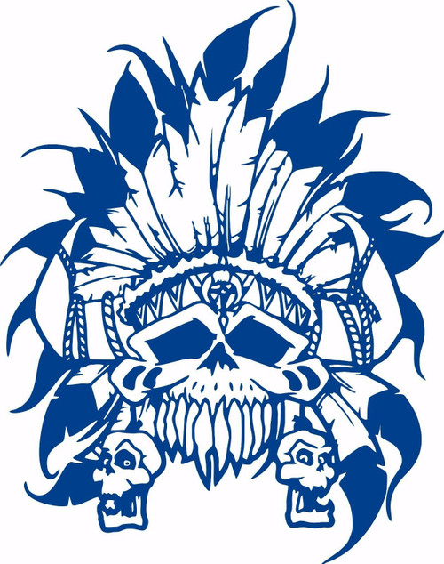 Native Indian Skull Skeleton Headdress Car Truck Window Vinyl Decal Sticker Blue
