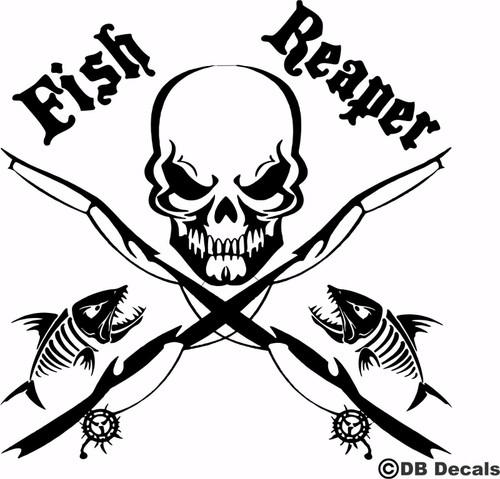 Fish Reaper Skull Fishing Rod Car Boat Water Truck Window Vinyl Decal Sticker Black