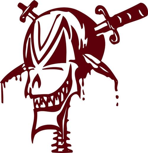 Skull Knife Face Monster Car truck Window Vinyl Decal Sticker Red