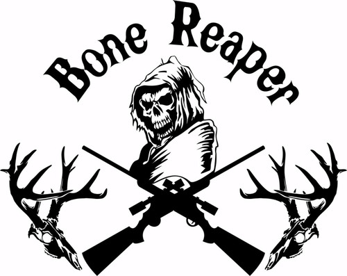 Bone Grim Reaper Gun Hunting Deer Skull Car Truck Window Vinyl Decal Sticker