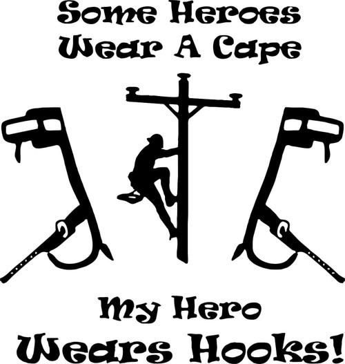 Lineman Electrician Hero Power Pole Hooks Car Truck Vinyl Decal Sticker Black