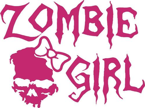 Zombie Girl Skull Walking Dead Car Truck Window Tablet Vinyl Decal Sticker red