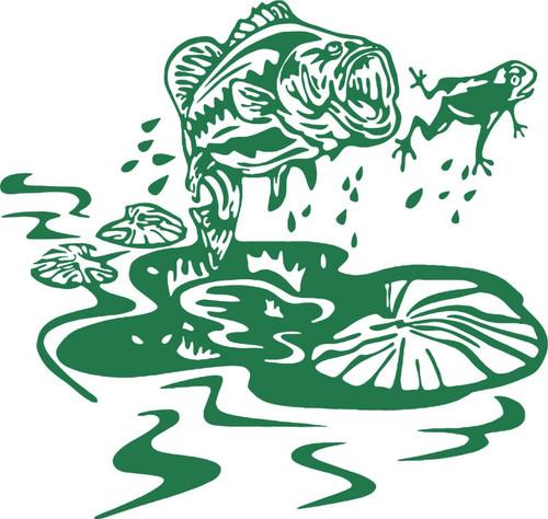 Fish Frog Lily Pad Bass Car Boat Truck Laptop Window Vinyl Decal Sticker Green