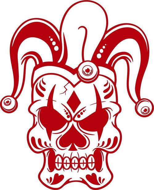 Jester Skull Clown Joker Laptop Vinyl Decal Sticker Red